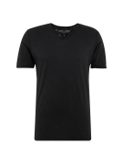 JACK & JONES, Heren Shirt 'JPRBENJAMIN TEE SS SPLIT NECK', zwart