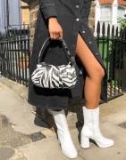 Mango ruched shoulder bag in zebra print-Multi