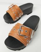 Calvin Klein Jeans valynda chunky mule sandals in cuoio-Multi